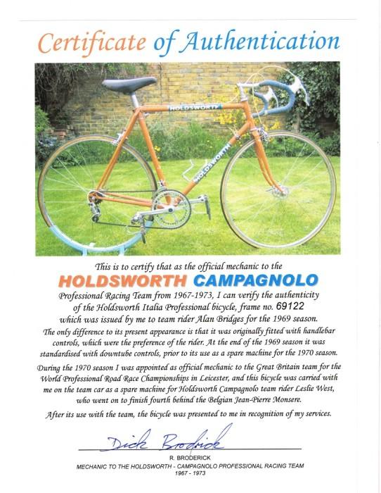 1969 Holdsworth Authentication