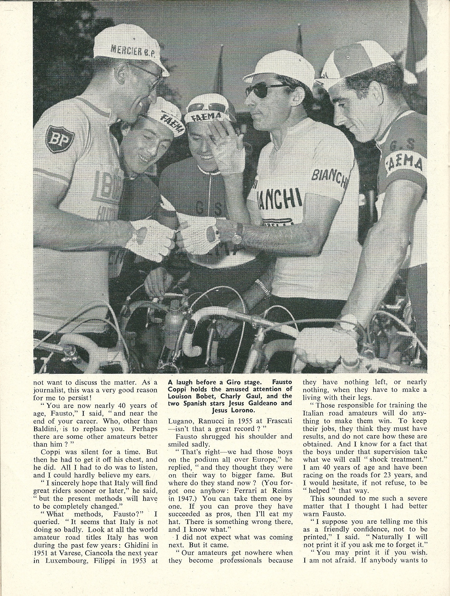 Fausto Coppi Interview - CSC April 1959