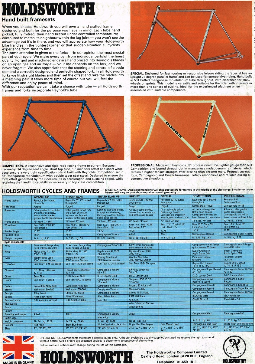 1985 Holdsworth Racing Bicycle And Frame Catalogue
